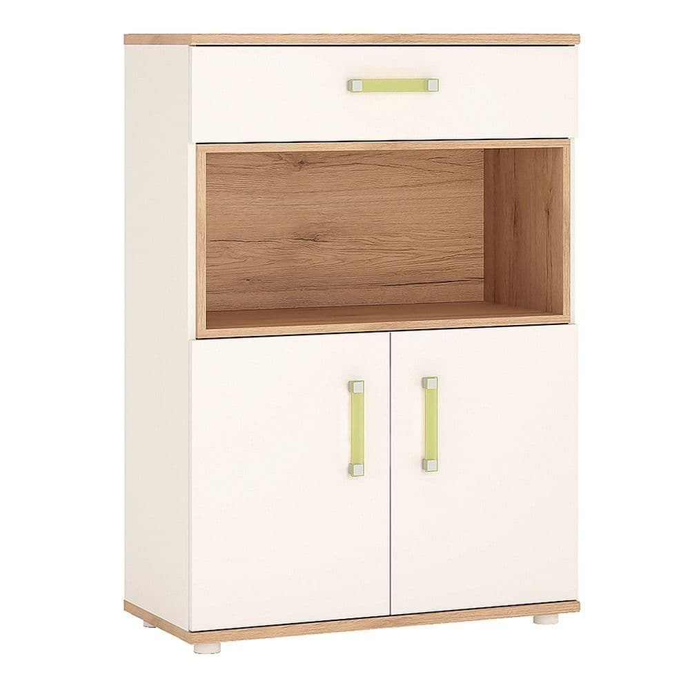 Kinder 2 Door 1 Drawer Cupboard with open shelf in Light Oak and white High Gloss (lemon handles)